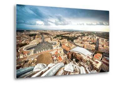 Famous Saint Peter's Square in Vatican and Aerial View of the City, Rome, Italy.-GekaSkr-Metal Print