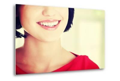 Beautiful Woman with Her Perfect Straight White Teeth.-B-D-S-Metal Print