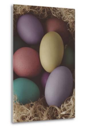 Painted Easter Eggs Nesting - Cross Processed-frannyanne-Metal Print