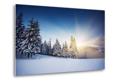 Majestic Sunset in the Winter Mountains Landscape. HDR Image-Leonid Tit-Metal Print