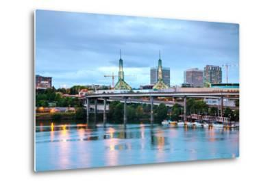 Downtown Portland Cityscape at the Night Time-photo ua-Metal Print