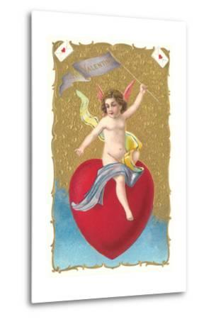 Cherub Sitting on Heart--Metal Print
