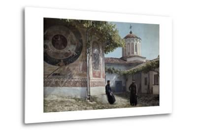 Preobrajenski Monastery Monks Rest Outside Church Adorned with Murals-Wilhelm Tobien-Metal Print