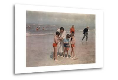 A Lady Examines a Girl's Net While the Other Kids Look at their Own-W^ Robert Moore-Metal Print