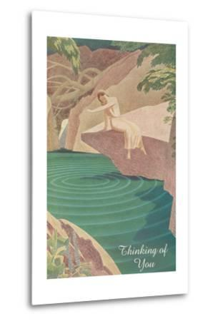 Thinking of You, Woman by Pond--Metal Print