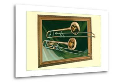 Two Trombones in Frame--Metal Print