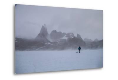 A Mountaineer Drags a Sled across the Antarctic Ice for a Circumnavigation of the Wohlthat Mountain-Cory Richards-Metal Print