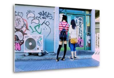 Young Women Window Shop on Harajuku's Cat Street-Heather Perry-Metal Print
