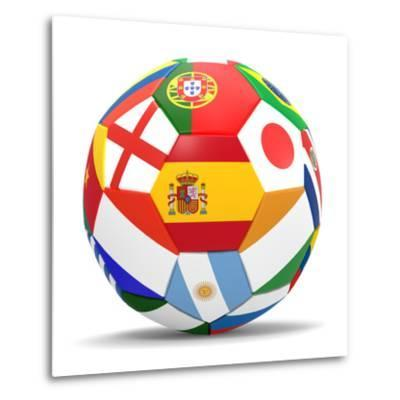 Football and Flags Representing All Countries Participating in Football World Cup in Brazil in 2014-paul prescott-Metal Print