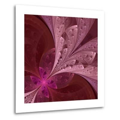 Beautiful Fractal Flower in Vinous and Purple-velirina-Metal Print