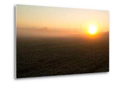 Misty Golden Sunrise over a Rural Cornfield-Stephen St^ John-Metal Print