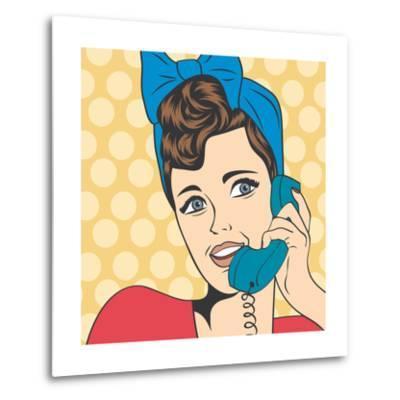 Woman Chatting on the Phone, Pop Art Illustration-Eva Andreea-Metal Print