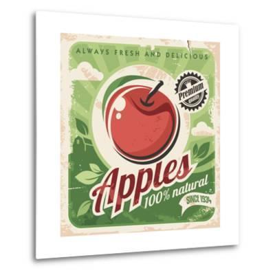 Apples Retro Poster-Lukeruk-Metal Print