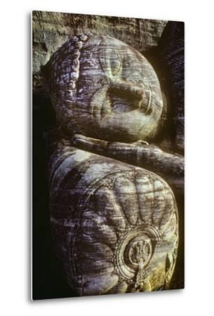 The Head of the Gal Vihara Reclining Buddha Statue at Polonnaruwa, Sri Lanka-David Hiser-Metal Print