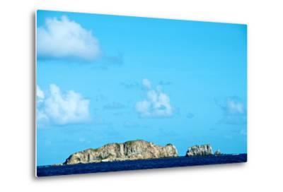Blue Sky with Puffy Clouds over Rock Formations Off the Coast of the British Virgin Islands-Heather Perry-Metal Print