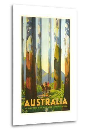 Australia Travel Poster, Trees--Metal Print