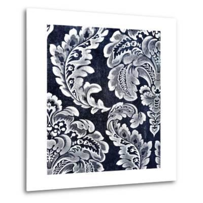 Abstract Blue Background or Paper with Grunge Background Texture with White Floral Patterns-iulias-Metal Print