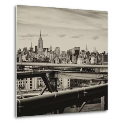View of Brooklyn Bridge with the Empire State Buildings-Philippe Hugonnard-Metal Print
