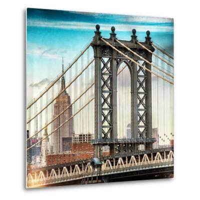 Instants of NY Series - Manhattan Bridge with the Empire State Building from Brooklyn Bridge-Philippe Hugonnard-Metal Print