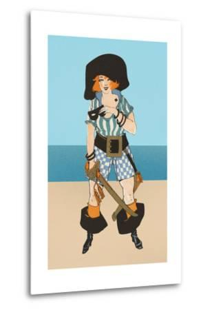 Lady Pirate with Tattoo--Metal Print