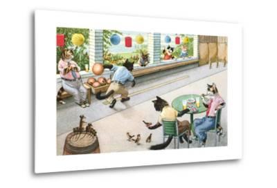 Crazy Cats at Bowling Alley--Metal Print