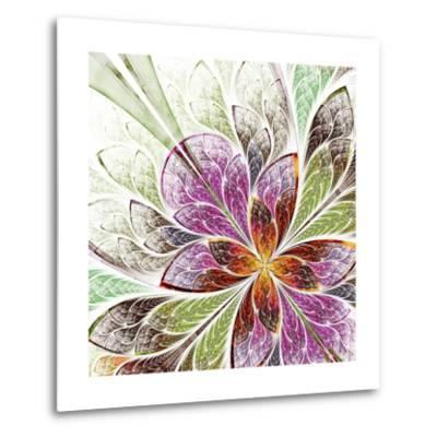 Beautiful Fractal Flower in Beige, Green and Violet-velirina-Metal Print