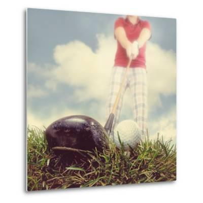 A Person Playing Golf-graphicphoto-Metal Print