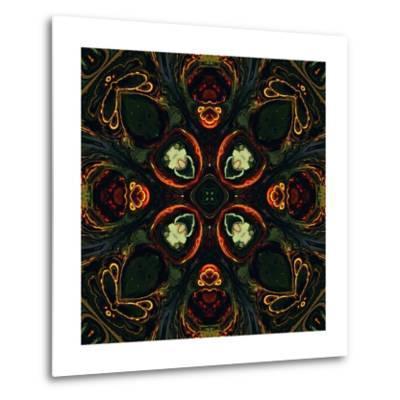 Art Nouveau Ornamental Vintage Pattern in Green and Red Colors-Irina QQQ-Metal Print