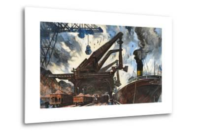 Cranes Unload Iron Ore from Great Lakes Steam Ships-Thornton Oakley-Metal Print