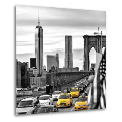 Yellow Taxi on Brooklyn Bridge Overlooking the One World Trade Center (1WTC)-Philippe Hugonnard-Metal Print
