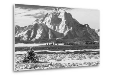 A Black and White Photograph of Mount Moran in the Teton Mountains in Winter-Greg Winston-Metal Print