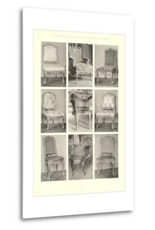 Nine Louis XV Chairs--Metal Print