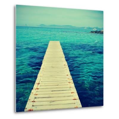 Boardwalk in Ses Illetes Beach in Formentera, Balearic Islands-nito-Metal Print