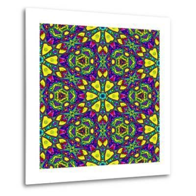 Floral Kaleidoscope Pattern-PandaWild-Metal Print