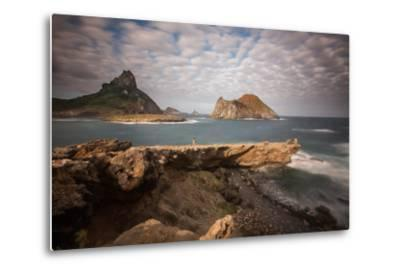 A Woman Stares Out at the Dramatic Landscape of Praia Do Sueste on Fernando De Noronha-Alex Saberi-Metal Print