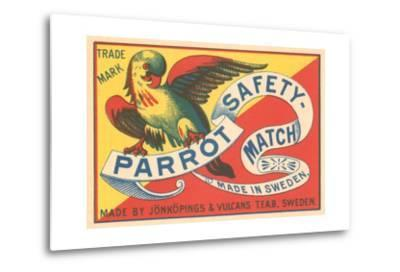 Match Box with Parrot--Metal Print