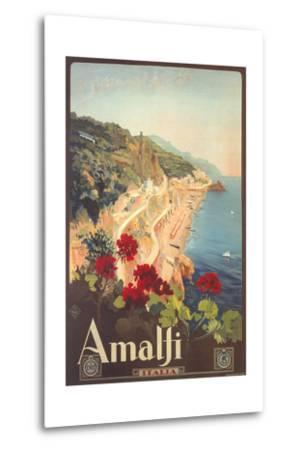 Travel Poster for Amalfi--Metal Print
