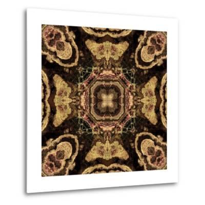 Art Nouveau Geometric Ornamental Vintage Pattern in Beige and Brown Colors-Irina QQQ-Metal Print