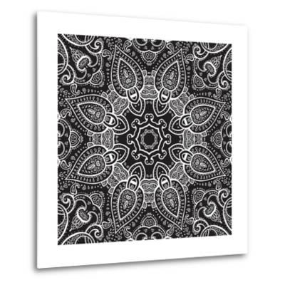 Lace Background: White on Black, Mandala-Katyau-Metal Print