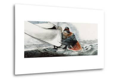 A Man Falls Through Ice on the Noatak River-Jack Unruh-Metal Print