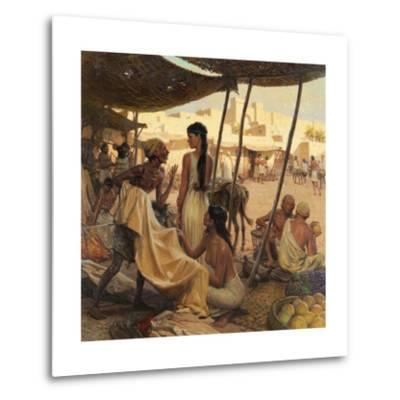Abraham's Wife, Sarai, and a Slave Bargain for Cloth in a Marketplace-Tom Lovell-Metal Print