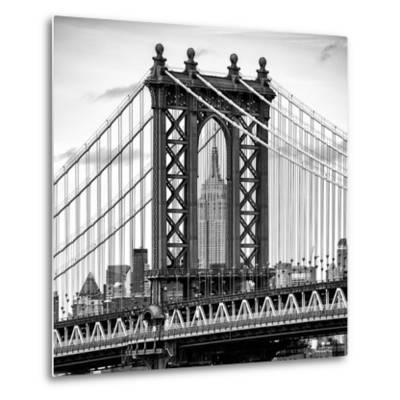 Manhattan Bridge with the Empire State Building Center from Brooklyn Bridge-Philippe Hugonnard-Metal Print
