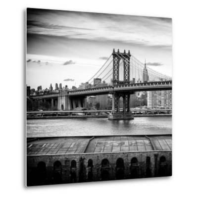 Manhattan Bridge with the Empire State Building from Brooklyn-Philippe Hugonnard-Metal Print