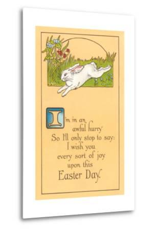 Easter Poem with Bunny--Metal Print
