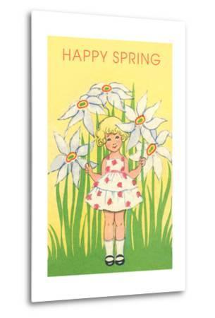 Happy Spring, Cute Little Girl with Big White Flowers--Metal Print