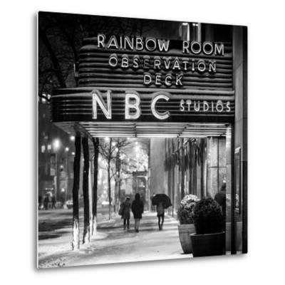 The NBC Studios in the New York City in the Snow at Night-Philippe Hugonnard-Metal Print