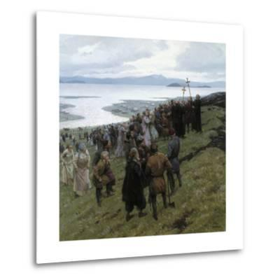 A Painting Shows the Christian Clergy Preaching to a Norse Settlement-Tom Lovell-Metal Print