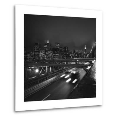 Brooklyn Bridge Traffic with Manhattan View at Night-Henri Silberman-Metal Print