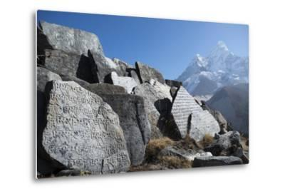 Mani Stones Inscribed with an Ancient Tibetan Mantra in the Khumbu Valley-Alex Treadway-Metal Print
