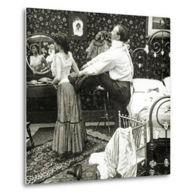 Stereoscopic Card Depicting a Woman Being Laced into a Corset-R.Y Young-Metal Print